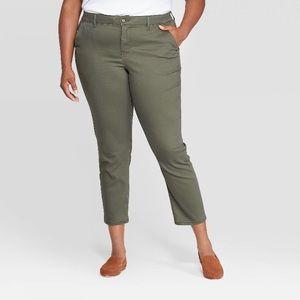 🌹Olive green Slim leg pants